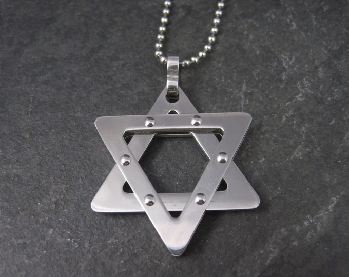 Vintage Stainless Steel Star of David Pendant Necklace