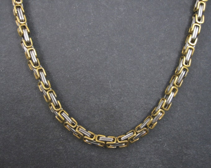 Vintage Two Tone Gold Silver Stainless Steel 5mm Necklace Chain 23 Inches