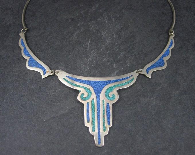 Vintage Mexican Lapis Malachite Necklace