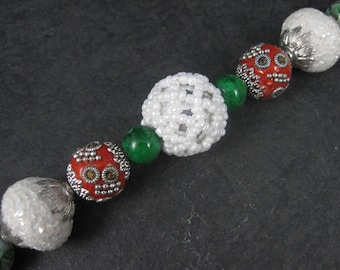 Jesse James Red Green White Christmas Bead Strand