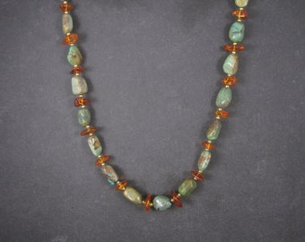 Vintage Faux Amber Turquoise Necklace 28 Inches
