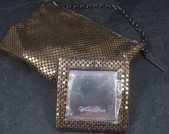 Vintage Whiting & Davis Mesh Evening Bag Handbag and Mirror Set Original Box