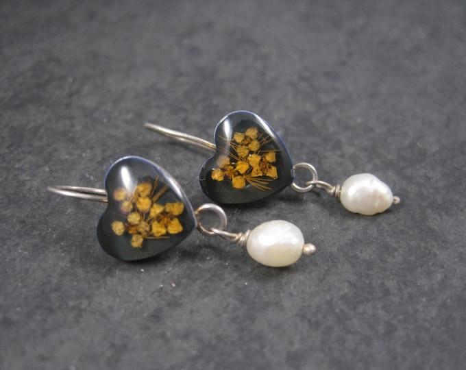 Vintage Sterling Dried Flower Pearl Heart Earrings