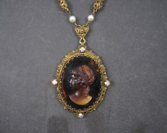 Large Brown Glass Rhinestone Cameo Necklace