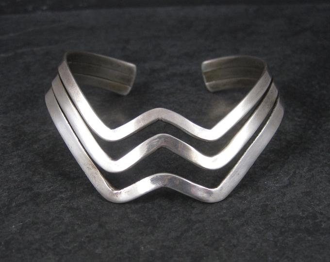 Vintage Sterling Wave Cuff Bracelet