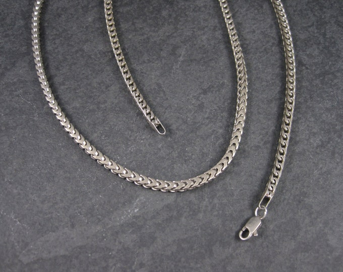 Vintage 4mm Italian Sterling Square Chevron Chain Necklace  30 Inches