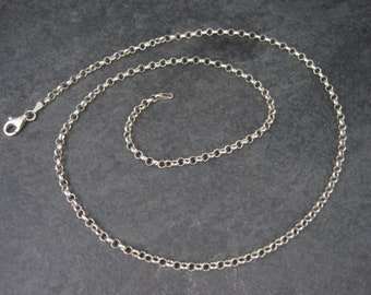 Vintage Italian Sterling 3mm Rolo Chain Necklace 22 Inches