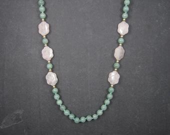 Vintage Aventurine Carved Rose Quartz Bead Necklace 30 Inches