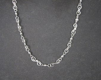 Vintage Sterling Specialty Swirl Heart Necklace Chain 16 Inches