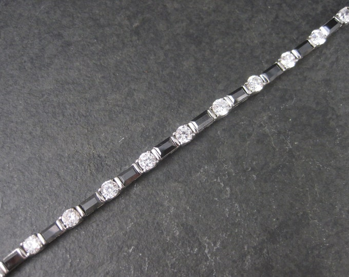 Vintage Sterling Black and White Cubic Zirconia Bracelet 7 Inches