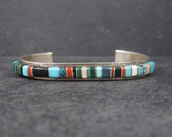 Vintage Navajo Raised Inlay Cuff Bracelet Bessie Manning 6 3/4 Inches