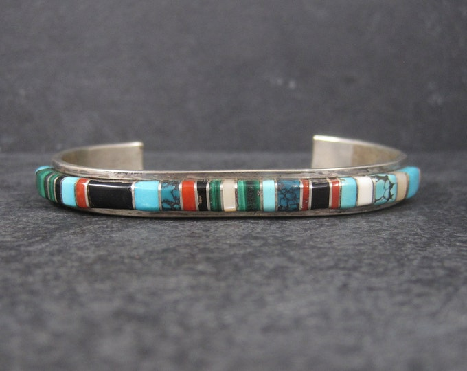 Featured listing image: Vintage Navajo Raised Inlay Cuff Bracelet Bessie Manning 6 3/4 Inches