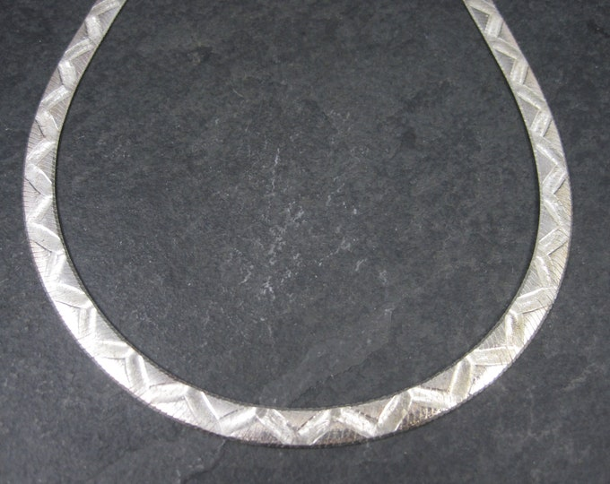 Vintage Italian Sterling 7mm Herringbone Necklace Chain 18 Inches