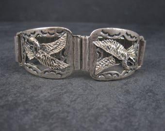Mens Vintage Black Hills Sterling Eagle Watch Tips Band New Old Stock