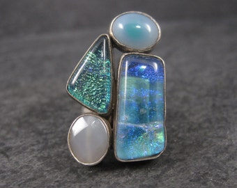 Vintage Sterling Dichroic Glass and Quartz Ring Size 7