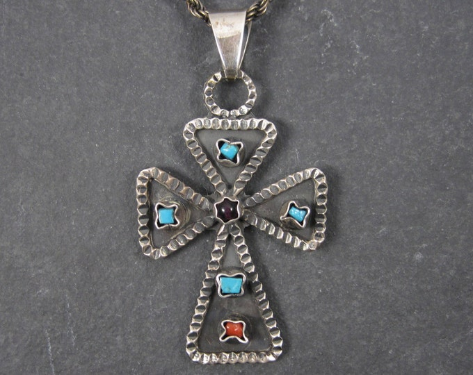 Vintage Mexican Sterling Coral Amethyst Turquoise Cross Pendant