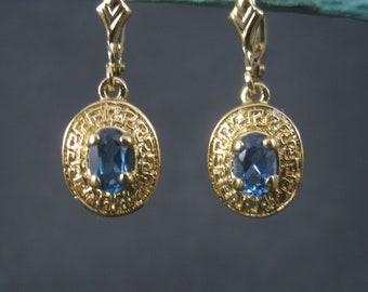 Vintage 14K Vermeil Sterling Blue Topaz Lever Earrings