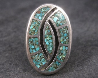 Vintage Southwestern Turquoise Chip Inlay Ring Size 9.5