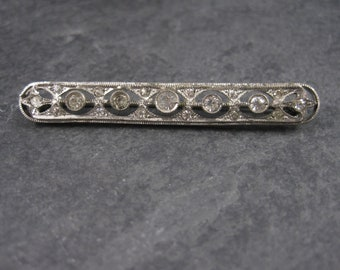 Vintage Sterling Paste Diamond Filigree Bar Brooch