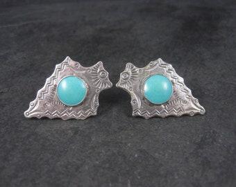 Vintage Sterling Block Turquoise Arrowhead Screw Back Earrings