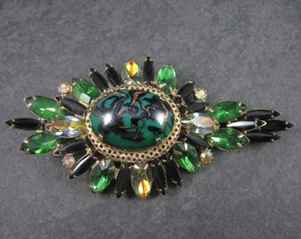 Large Vintage Juliana Green Black Rhinestone Brooch Delizza Elster