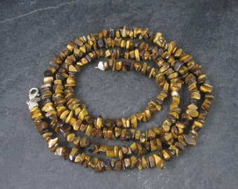 Vintage Sterling Opera Length Tigers Eye Bead Necklace 40 Inches