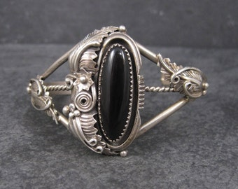 Vintage Sterling Navajo Onyx Cuff Bracelet 6 Inches