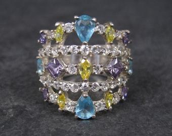 Large Vintage Multi Stone Cluster Ring Size 7