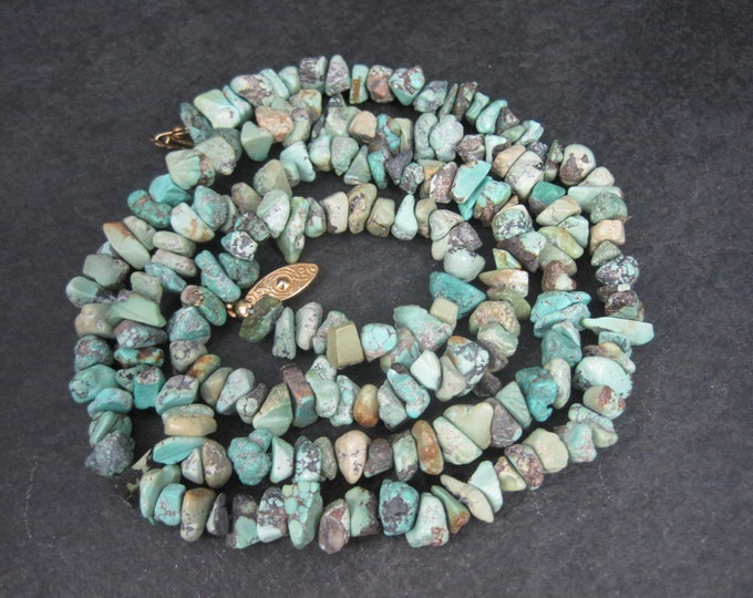 Vintage 70s Turquoise Nugget Necklace 32 Inches