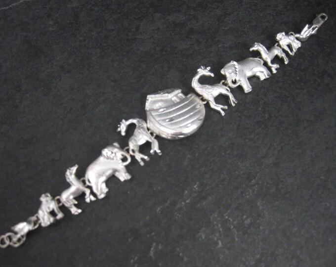 Vintage Sterling Diamond Cut Noahs Ark Bracelet 7 Inches