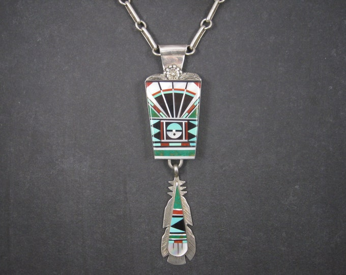 Huge Vintage Zuni Sunface Feather Inlay Pendant Necklace Lucy Ricky Vacit