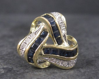 Vintage 14K Yellow Gold Sapphire and Diamond Ring Size 7