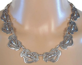 Heavy Vintage Sterling Repousse Necklace