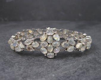 Vintage Sterling Rainbow Moonstone Bracelet