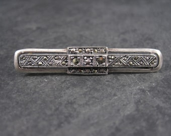 Vintage Sterling Marcasite Bar Pin Brooch
