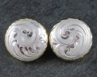 Large Vintage Western Sterling Dome Earrings