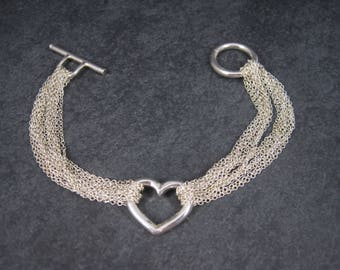 Vintage Silvertone Heart Toggle Bracelet 8 Inches