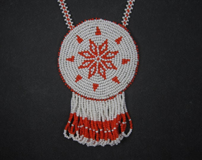 Vintage Traditional Sioux Beaded Thunderbird Necklace Medallion