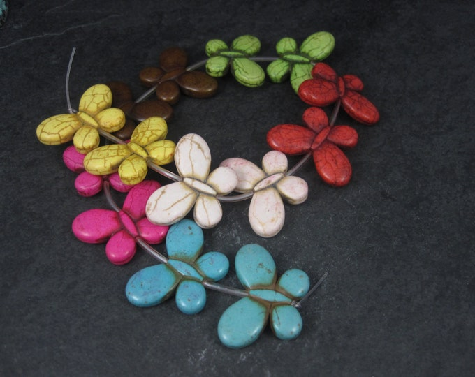 Large 30mm Dyed Howlite Butterfly Beads