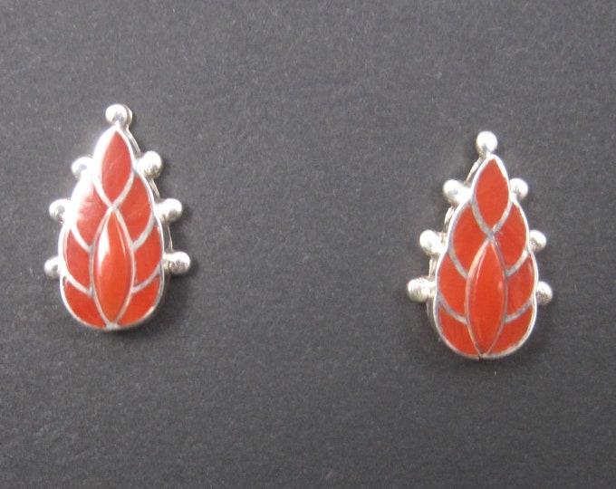 Vintage Zuni Sterling Coral Inlay Flame Earrings
