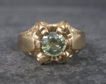Antique Victorian 14K Green Sapphire Ring Size 7