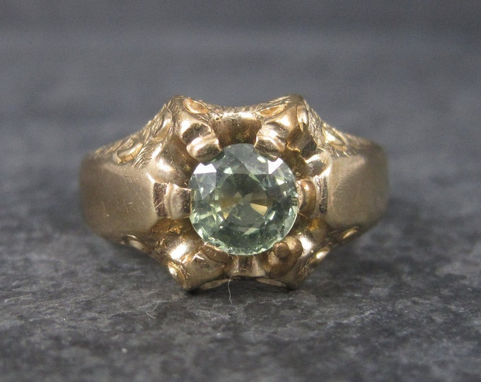 Featured listing image: Antique Victorian 14K Green Sapphire Ring Size 7