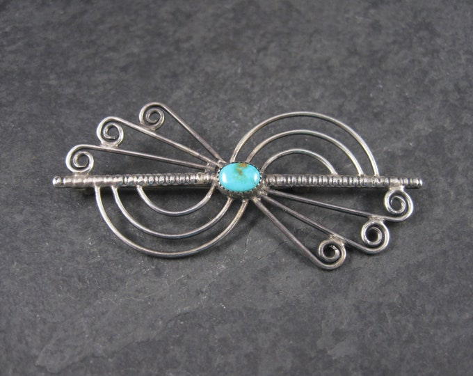Vintage Sterling Native American Turquoise Brooch
