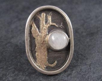 14K Oak Tree Moonstone Winter Solstice Moon Ring Size 5