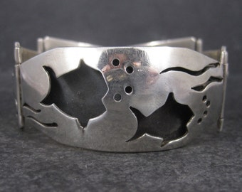 Vintage Mexican Sterling Shadowbox Fish Panel Bracelet