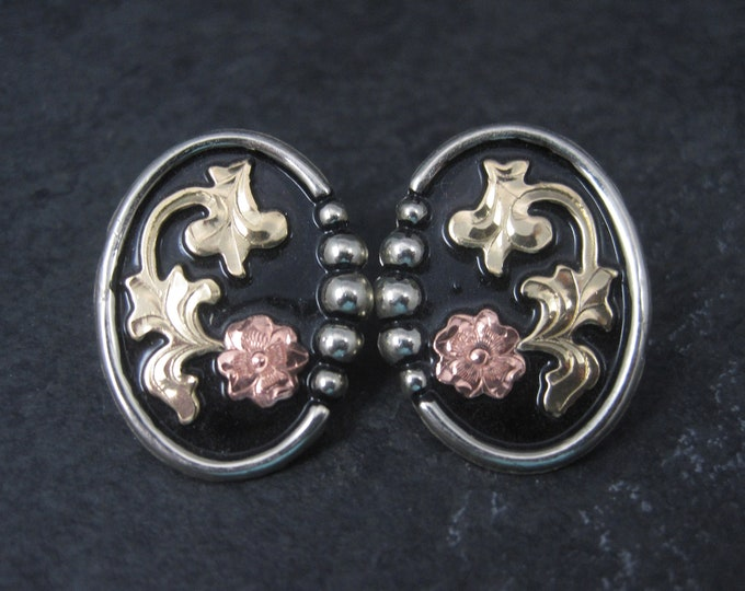Western Tri Tone Floral Earrings Circle Y New Old Stock