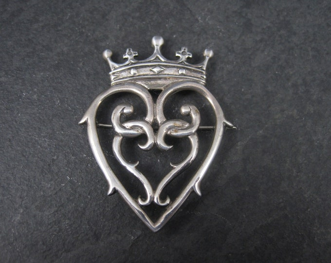 Hand & Hammer Sterling Silver Heart Crown Brooch Pendant