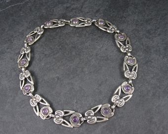 Vintage Mexican Sterling Amethyst Choker Necklace