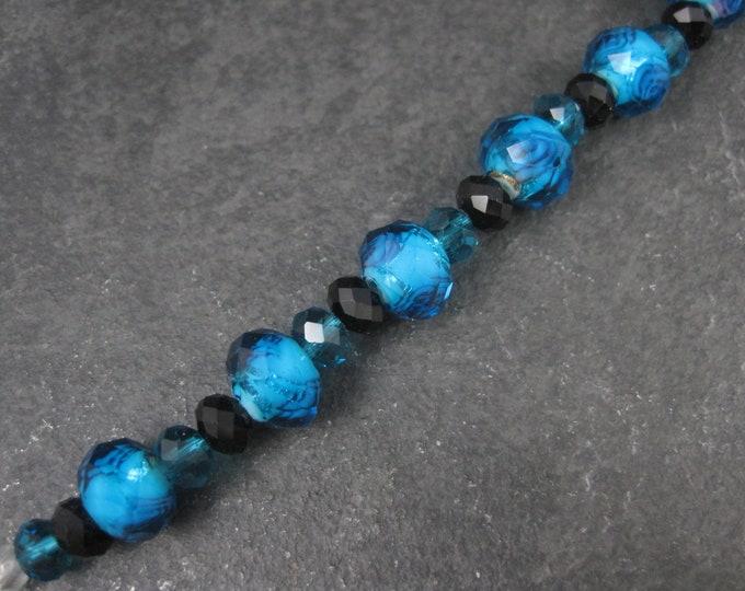 Blue Moon Beads 10mm 6mm Blue Glass Rose Beads