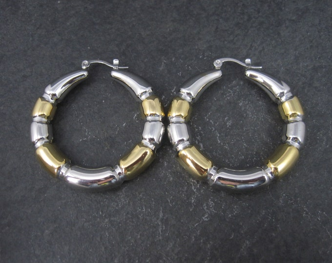 Large 90s Stainless Steel Latch Hoop Earrings 2 Inches